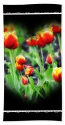 I Heart Tulips - Black Background Beach Towel