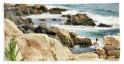 I Heart Waves Beach Towel