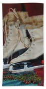 Ice Skates And Mittens Beach Towel