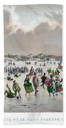 Ice Skating, C1859 Beach Towel