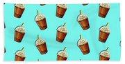Iced Coffee To Go Pattern Beach Towel