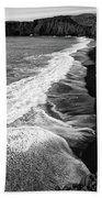 Iceland Coast Dyrholaey Black And White Beach Towel