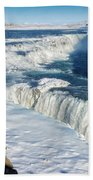 Iceland Gullfoss Waterfall In Winter With Snow Beach Towel