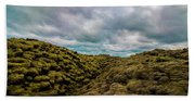 Iceland Moss And Clouds Beach Towel