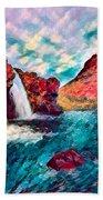 Iceland Waterfalls Beach Sheet
