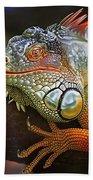 Iguana Full Of Color Beach Towel