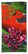 IIwi Scarlet Honeycreeper Bird #339 Beach Towel
