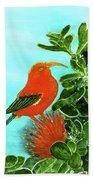 IIwi Scarlet Honeycreeper Bird #54 Beach Towel