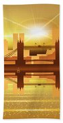 Illustration Of City Skyline - London  Sunset Panorama Beach Towel