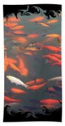 Imperial Koi Pond With Black Swirling Frame Beach Towel