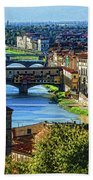 Impressions Of Florence - Long Blue Shadows On The Arno River Beach Towel