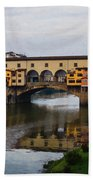Impressions Of Florence - Ponte Vecchio Autumn Beach Towel