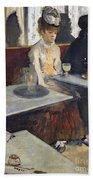 In A Cafe Beach Towel by Edgar Degas