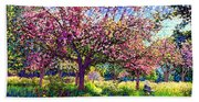 In Love With Spring, Blossom Trees Beach Sheet