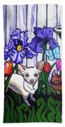 In The Chihuahua Garden Of Good And Evil Beach Towel