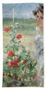In The Flower Garden, 1899 Beach Towel