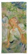 In The Garden At Roche Plate Beach Towel by Berthe Morisot