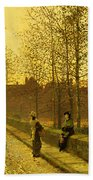In The Golden Gloaming Beach Towel by John Atkinson Grimshaw