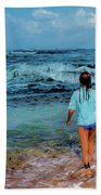 In The Hope Of A Big Wave Beach Towel