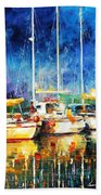 In The Port - Palette Knife Oil Painting On Canvas By Leonid Afremov Beach Towel