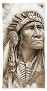 Indian Chief With Headdress Beach Sheet