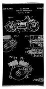 Indian Motorcycle Patent 1943 Black Beach Towel