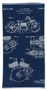Indian Motorcycle Patent 1943 Blue Beach Towel