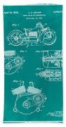 Indian Motorcycle Patent 1943 Green Beach Towel