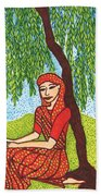 Indian Woman With Weeping Willow Beach Towel