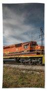 Indiana Southern Railroad Locomotives At Edwardsport Indina Beach Towel