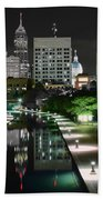 Indianapolis Canal Night View Beach Towel