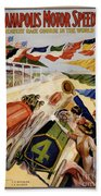 Indianapolis Motor Speedway Vintage Poster 1909 Beach Towel
