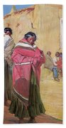 Indians Outside Taos Pueble Beach Towel