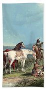 Indians Playing Cards Beach Towel by John Mix Stanley