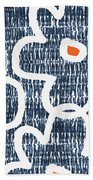 Indigo And White Jumbo Flowers- Art By Linda Woods Beach Towel