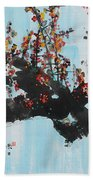 Ink Painting Plum Blossom Blue Beach Towel