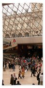 Inside Louvre Museum Pyramid Beach Towel by Mark Czerniec