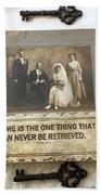 Inspirational Art - Vintage Wedding Photo With Antique Keys - Inspirational Vintage Black Keys Art  Beach Towel