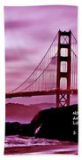Inspirational - Nightfall At The Golden Gate Beach Towel