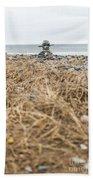 Inukshuk At Lawrencetown Beach, Nova Scotia Beach Towel
