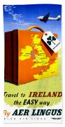 Ireland Vintage Travel Poster Restored Beach Towel