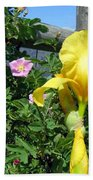 Iris And Wild Roses Beach Towel