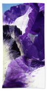 Iris Flower Art Print Purple Irises Botanical Floral Artwork Beach Towel