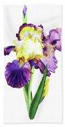 Iris Flowers Watercolor  Beach Towel