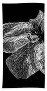 Iris In Black And White Beach Towel