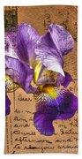 Iris On Vintage 1912 Postcard Beach Towel