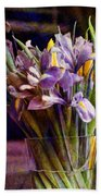 Irises In A Glass Beach Towel