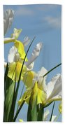 Irises In Blue Sky Art Print Spring Iris Flowers Baslee Troutman Beach Towel