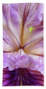 Irises Summer Purple Lavender Iris Flower Art Print Baslee Beach Towel