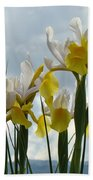 Irises Yellow White Iris Flowers Storm Clouds Sky Art Prints Baslee Troutman Beach Towel